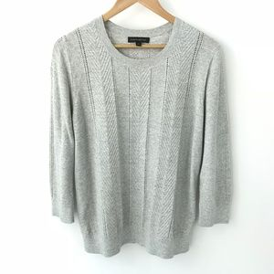 Banana Republic Gray Cable Crewneck Sweater